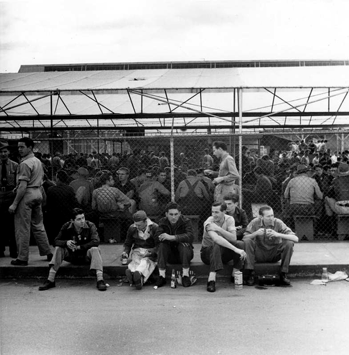 Burbank Lockheed Employees Taking Lunch, Ansel Adams, 1940, Courtesy of the Los Angeles Public Library