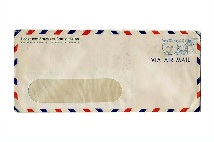 Aerospace Ephemera: Envelope, Lockheed Aircraft Corporation, Postmarked 1954