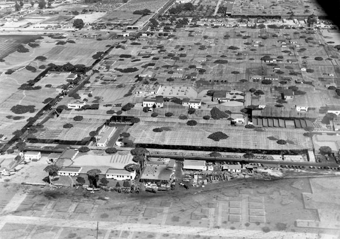 Camouflage Over the Lockheed Plant, 1942, Courtesy of The Burbank Historical Society